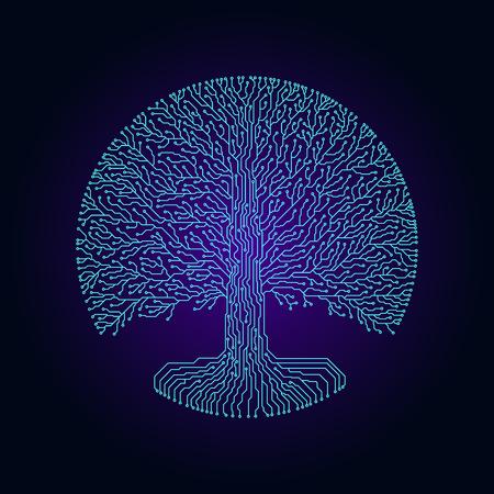 Hi-tech circuit style round yggdrasil tree. Cyberpunk futuristic design. Illustration