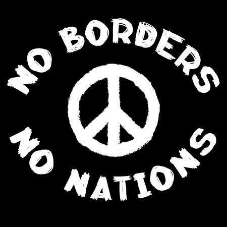 No borders no nations sign and pacific symbol Illustration
