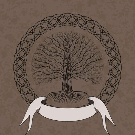 Druidic Yggdrasil tree at night, round silhouette, cream and brown grunge logo. Gothic ancient book style, vector image Illustration