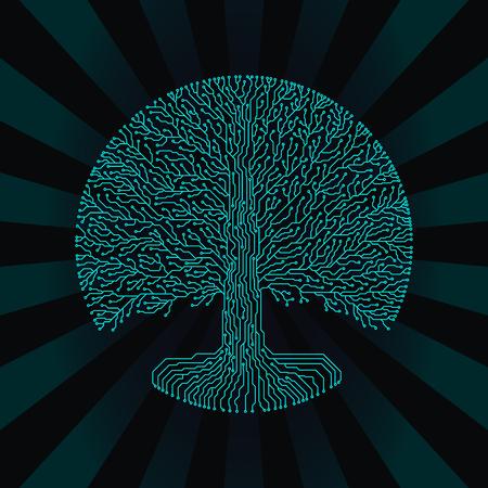 microcircuit: Hi-tech circuit style round yggdrasil tree. Cyberpunk futuristic design. Illustration