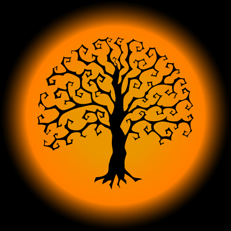 Druidic Yggdrasil tree, round gothic logo. Halloween style black and white vector silhouette.