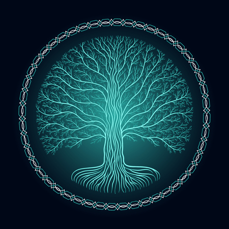 Druidic Yggdrasil tree, round dark gothic logo. ancient book style