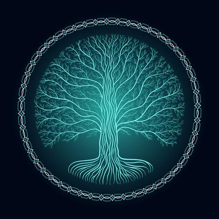 Druidic Yggdrasil tree, round dark gothic logo. ancient book style