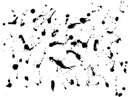 Messy ink blot, black drops on white background. Vector illustration.