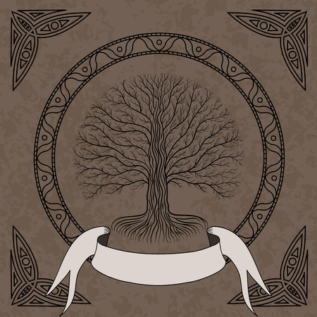 Druidic Yggdrasil tree at night, round silhouette, cream and brown grunge emblem. Gothic ancient book style. Standard-Bild - 107494709