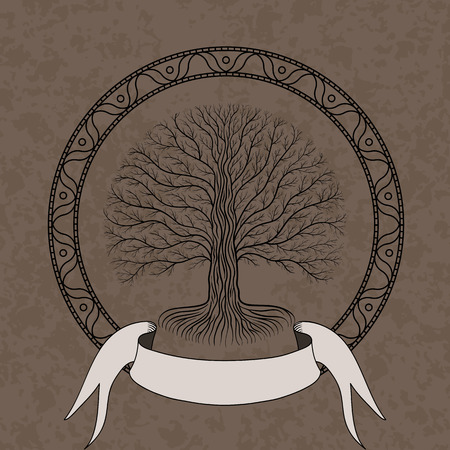 Druidic Yggdrasil tree at night, round silhouette, cream and brown grunge emblem. Gothic ancient book style. Standard-Bild - 107494710