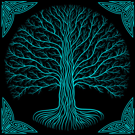 Druidic Yggdrasil tree at night, round silhouette, cream and brown grunge emblem. Gothic ancient book style.