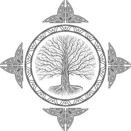 Druidic Yggdrasil tree, round gothic emblem. ancient book style 写真素材