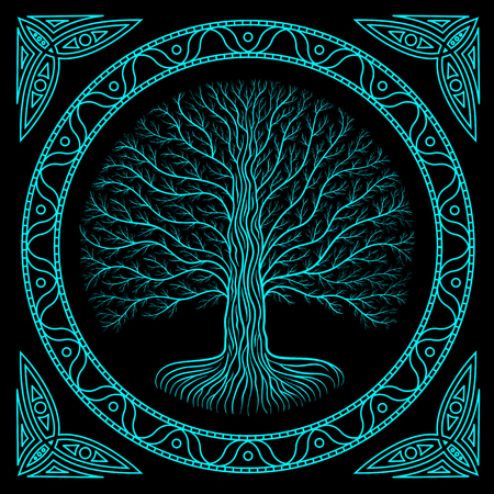 Druidic Yggdrasil tree at night, round silhouette, black and blue emblem. Gothic ancient book style Stock Photo