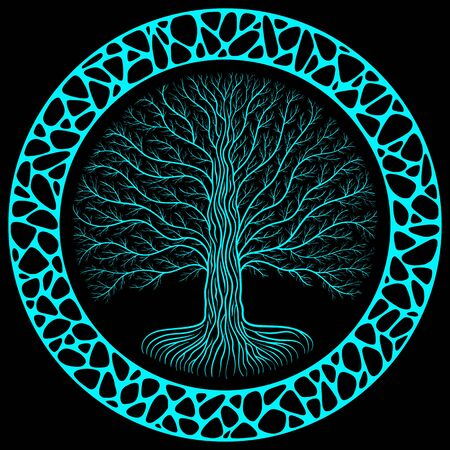 Druidic Yggdrasil tree at night, round silhouette, black and blue logo. Gothic ancient book style, organic or stone wall frame