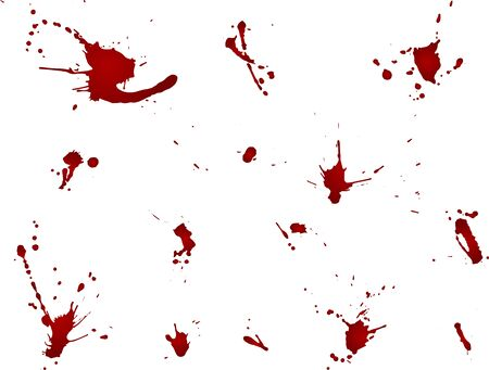 Messy blood blot collection, red drops on white background. Vector illustration, maniac style, isolated