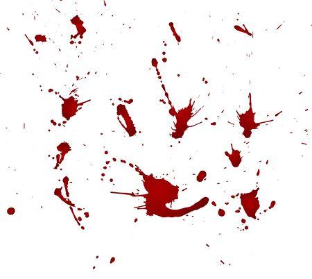 Mancha de sangre sucia, gotas rojas sobre fondo blanco. Ilustración de vector, estilo maníaco. Grandes salpicaduras