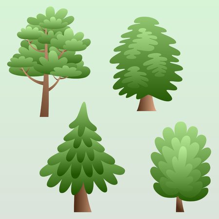 Set of forest trees in natural environment with organic curved shape