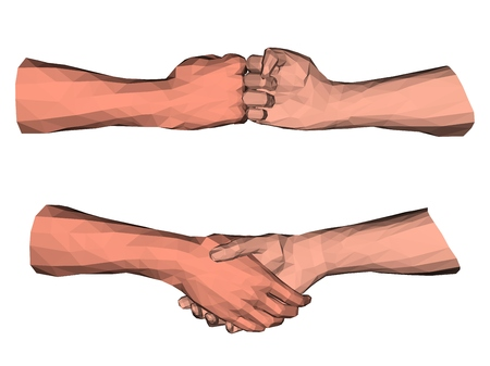 Polygonal handshake low poly art about partnership agreement in business and success cooperation