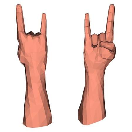 Rock symbol low poly hand for heavy metal concert or punk party communication signal