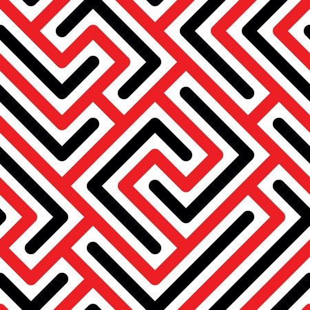 Seamless pattern with red and black geometric lines in white background