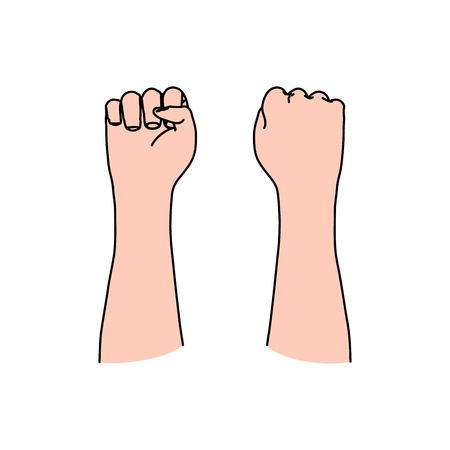 Human fist as symbol of riot, conflict, revolution, protest, anger, strength, violence, or even freedom, politics and communism Banco de Imagens - 121999406