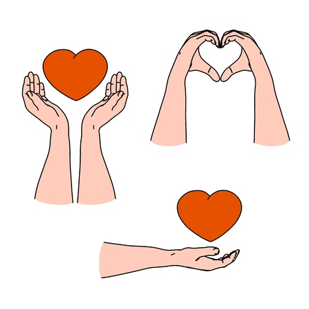 Love emotion, care and giving emotion by gesturing with heart shape hands for Valentines day Иллюстрация