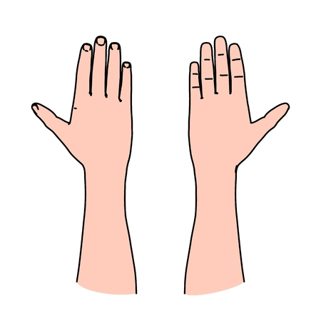 Human palm of hand as line art concept of greeting, oath or warning symbol - part of communication between people by gesturing Illustration