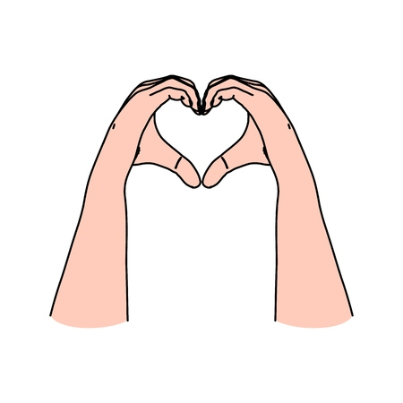 Hands in heart shape as symbol of love, care, togetherness, romance, giving and sharing for Valentines day