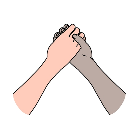 Two crossed mans hands symbolized conflict and arm wrestling or handshake as sign of friendship and teamwork