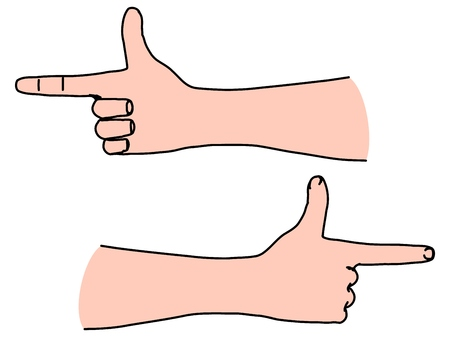 Horizontal hand with human index finger directing the way forward or right handed choice pointing