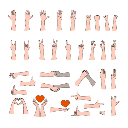 Huge collection of human hand gestures in outline flat line art style for communication between people Illustration