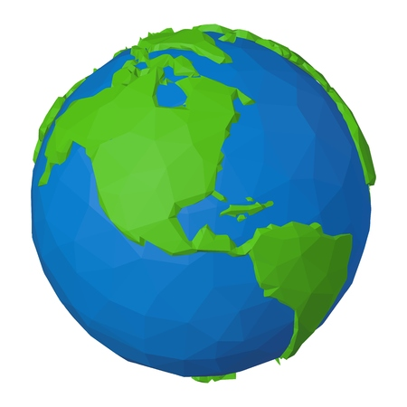 USA, Canada and Mexico on 3d globe polygonal illustration in modern low poly style