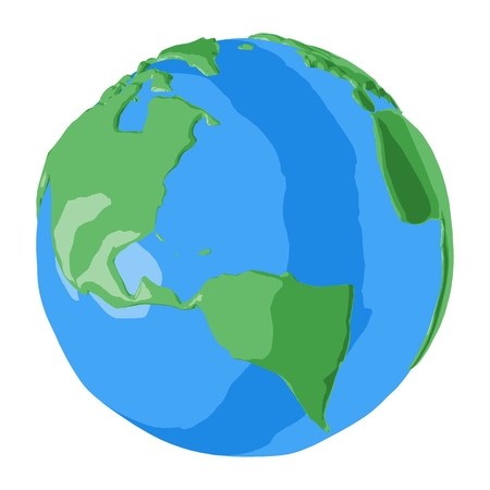 Planet Earth in simple 3D cartoon style with North and South America on foreground  イラスト・ベクター素材