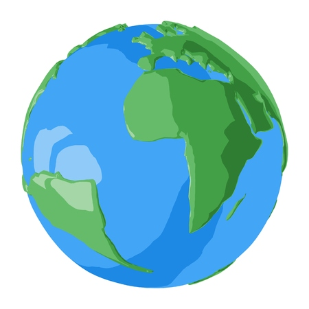 Atlantic ocean on simple glossy 3D globe for illustration of earth day or beautiful vacation travel