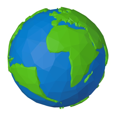 Atlantic Ocean and Africa on polygonal 3d Earth as simple concept of ecology and environment
