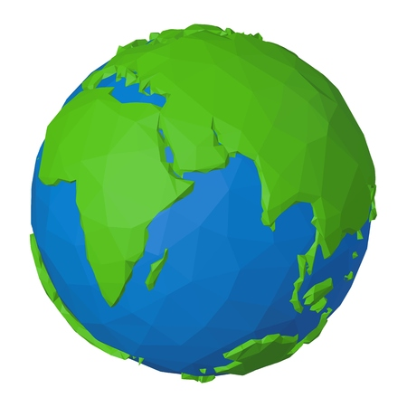 Origami style globe with 3d paper effect as illustration of Indian Ocean, Africa and Eurasia on planet Earth  イラスト・ベクター素材
