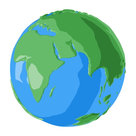 Fancy looking eastern hemisphere planet Earth drawn in cartoon glossy 3D style with bright blue oceans and beautiful green continents