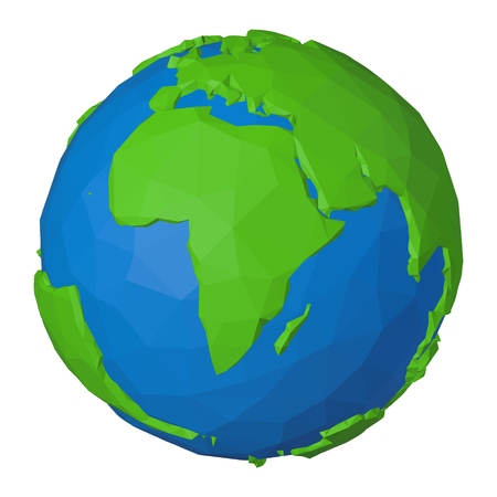 Polygonal icon of Africa on globe with green continent and blue water looks like origami paper object