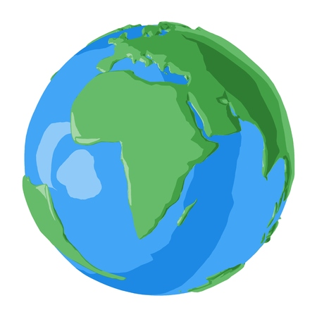 Cartoon style beautiful planet Earth with green continent of Africa and blue oceans  イラスト・ベクター素材