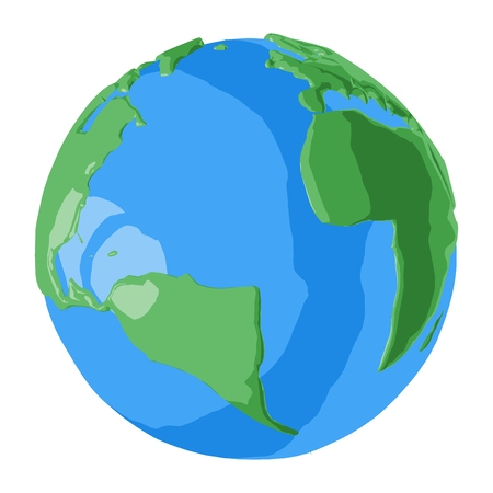 Africa and America continents on 3D cartoon illustration of planet Earth with abstract blue water and beautiful green land