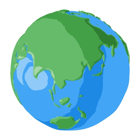 China on globe in cartoon style for simple graphic illustration of global east world