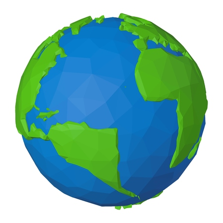Africa and America on low poly 3d globe with blue Atlantic ocean and polygonal green continents