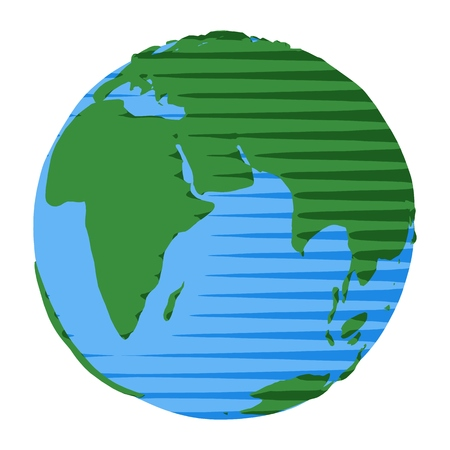 Icon of eastern hemisphere of Earth drawn in retro cartoon flat style with vintage comic stripes  イラスト・ベクター素材