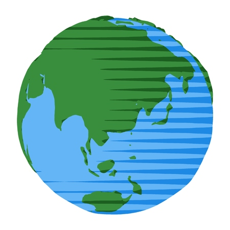 Icon of Australia and China on planet Earth as abstract vector illustration of simple ecology environment elements