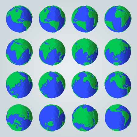 Geometric set of abstract cartoon style planet Earth for polygonal icons or geometric illustrations  イラスト・ベクター素材