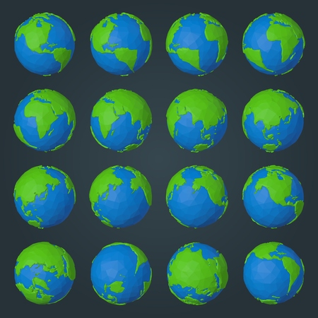 Collection of planet Earth 3d icons in modern low poly geometric style with blue water and green land polygons  イラスト・ベクター素材