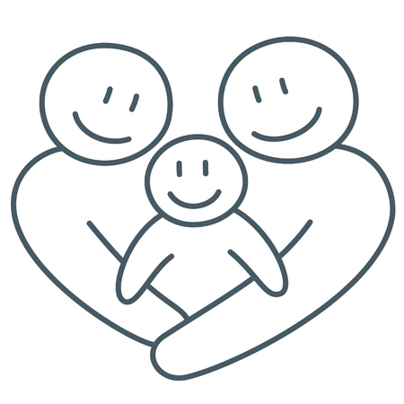 Happy family line art abstract drawing as concept of love and connection of mother, father and child