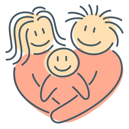 Heart shape family of parents and newborn son hug together as abstract concept of mother and father feelings