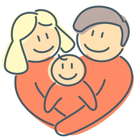 Family love to newborn kid and heart shape as abstract sign of love and union in healthy relationship and happiness