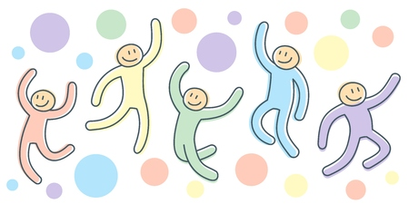 Active movement of jumping people as illustration of cartoon poses of joyful stick characters