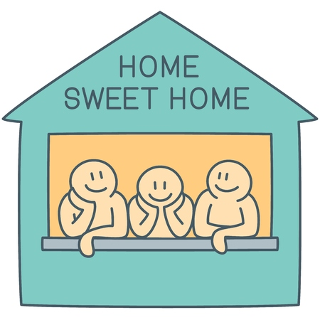 Three characters on the window of house in comfortable atmosphere as simple concept of sweet home - vector line art illustration
