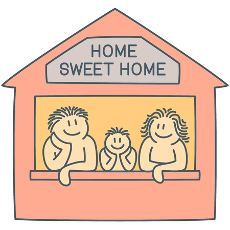 Father, mother and son on the window of house - line art cartoon as concept of happy family, vector graphics of couple and kid