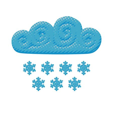 Comic vector design of curly blue cloud with cold snowflakes in stormy winter. Flat weather poster of snowfall environment for meteorology with halftone concept in nature idea or symbol for web art.