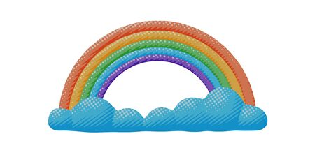 Isolated vector design of bright spring rainbow and cloud. Flat sky pop art of colorful spectrum of red, orange, blue, green, violet colors with environment concept in season idea or sign for web art.